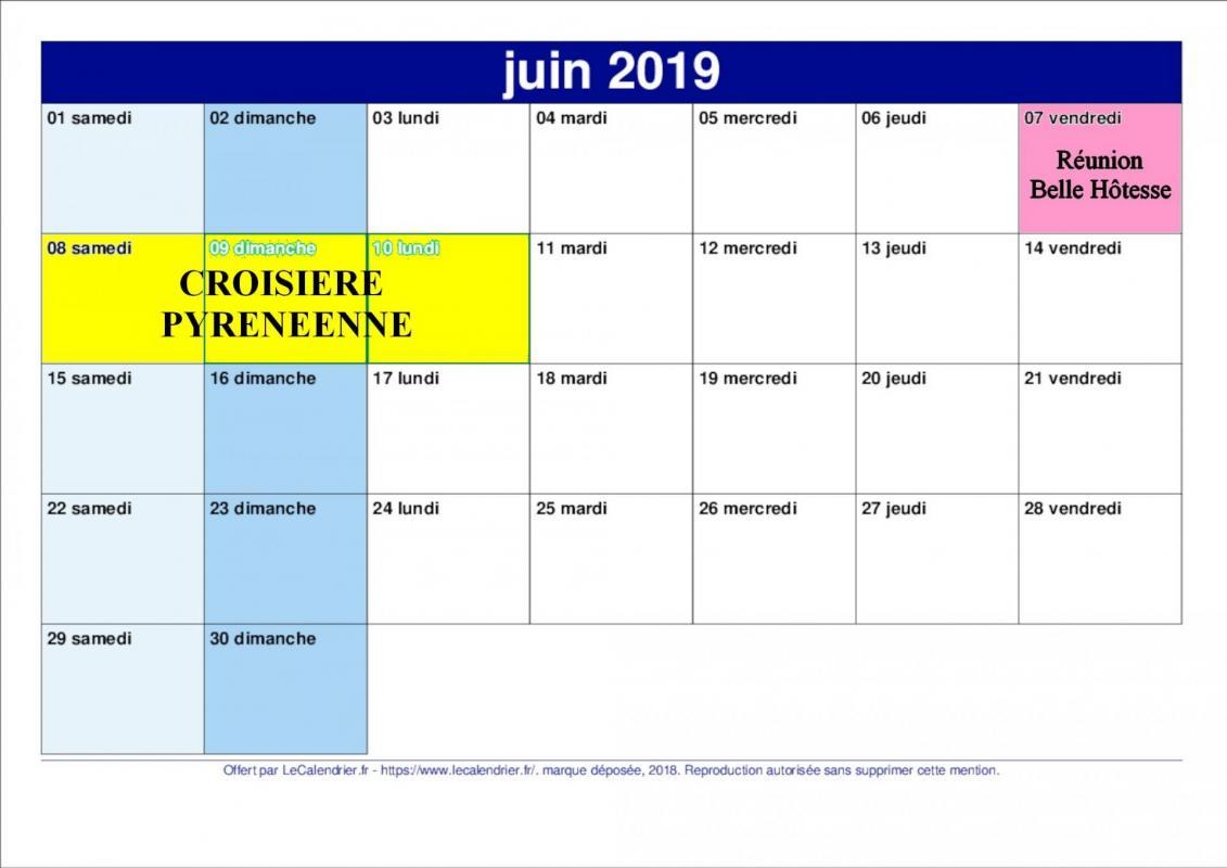 Calendrier juin 2019