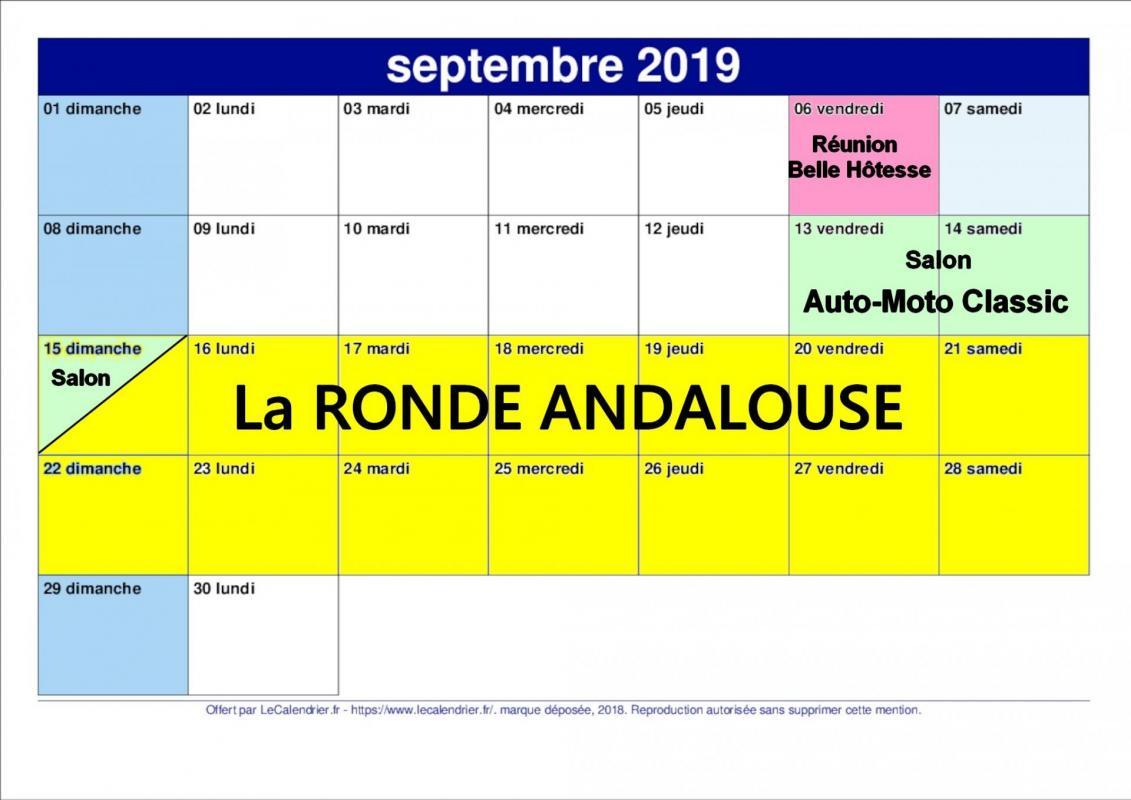 Calendrier septembre 2019